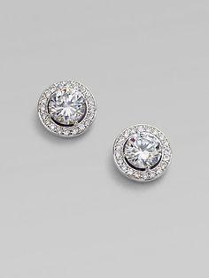 Sterling Silver Round Framed Stud Earrings - Zoom - Saks Fifth Avenue Mobile