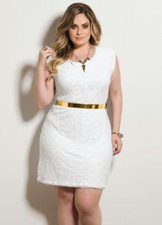 Vestido Tubinho Renda Branco Plus Size - Quintess
