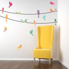 PFR Design Inspired Living loves this stunning chair and bird on a wire wall decal. Beautiful.
