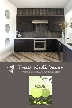 #green #appleprint in a #modern #brown #kitchen . If the color of the #appleposter print needs adjustment then #colorityourway by changing the fill color. Click through to learn how to #personalize the background color.