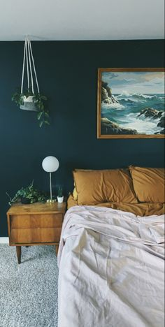 Dark Blue Bedroom Walls, Blue Green Bedrooms, Green Master Bedroom, Dark Green Rooms, Dark Blue Walls, Bedroom Wall Colors, Room Ideas Bedroom, Bedroom Neutral, Neutral Bedding