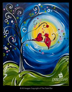 Lovey Dovey Birds Painting - Jackie Schon, The Paint Bar My sister said this is me and my husband! Diy Painting, Painting & Drawing, Paint Bar, Wine And Canvas, Whimsical Art, Art Plastique, Beautiful Paintings, Bird Art, Love Art
