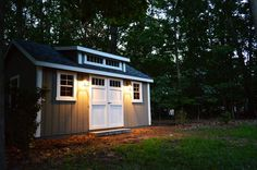 Our new Amish-built storage shed promises to solve our garage disorganization and our backyard landscaping issues while creating great workshop space. Backyard Storage Sheds, Storage Shed Plans, Backyard Sheds, Outdoor Sheds, Outdoor Storage, Backyard Office, Garden Sheds, Young House Love, Prefabricated Sheds