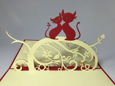 Cat Couple. 3D Handmade Card. Pop Up Card. Valentines Day Card. Pop Up Love Card. Proposal Card. Happy Wedding Card. Happy Anniversary Card