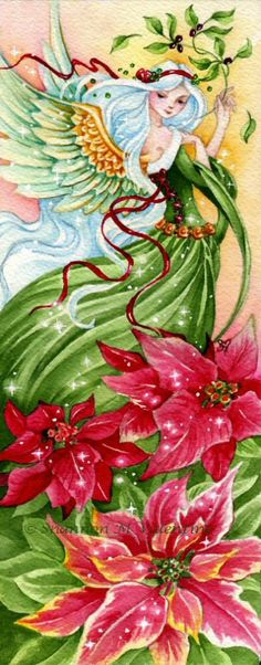 "Christmas Angel Art Print ""Of Peace & Light""  Poinsettia by Shannon Valentine"