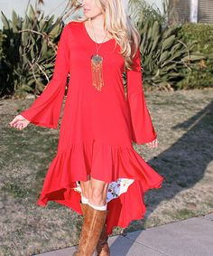 Camel boots, red dress, long necklace .... This Red Scarlet Hi-Low Dress - Plus Too is perfect! #zulilyfinds