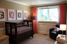 Just wanted to remind myself I want to do curtains like this in the nursery.  Not the same color.  Although I am not usually a fan of the name on the wall I do like this one.