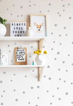 """136qty - Tiny Hand Drawn Dots Sizes range from .75""""-1.5"""" in diameter Fully removable and reusable wall decals that will brighten and add character to any room. **PLEASE NOTE THAT METALLIC VINYL IS NOT"""