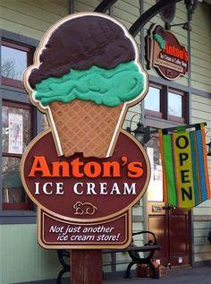Great custom HDU sign for Anton's Ice Cream Shop