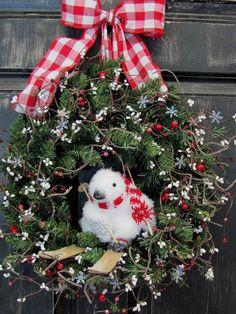 Cute Primitive Christmas Baby Penguin Wreath, 2013 Christmas Baby Penguin Skiing Wreath #2013 #christmas #deco #wreath