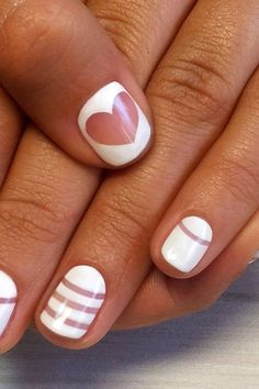 The most fashionable white manicure photos, ideas, trends. White Manicure, Manicure Colors, White Nails With Gold, Gold Nails, Nail Art Coeur, Sharp Nails, Hair Quotes, White Enamel, Beauty Nails