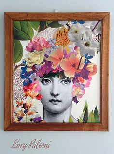 Fornasetti inspired original decoupage art floral by Lorypalomi