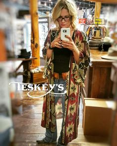 ❤ Today has been full of dress up!   Double D Ranch Kimono $219.99 In love!  Brass concho belt: $299.99.  Next week is the American! World's Richest one day rodeo! Basically just another excuse for us to DRESS UP! Visit Teskey's Boutique, and let us h