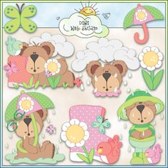 Rainy Day Bears 1 - NE Trina Clark Clip Art : Digi Web Studio, Clip Art, Printable Crafts & Digital Scrapbooking!