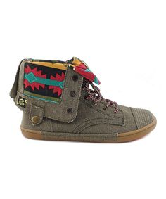 Olive Canvas Say What Shoe by TigerBear Republik #zulily #zulilyfinds
