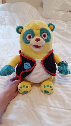 """Disney Store Special AGENT OSO Plush Toy Doll 14"""" Yellow Bear with Turquoise  #Disney"""