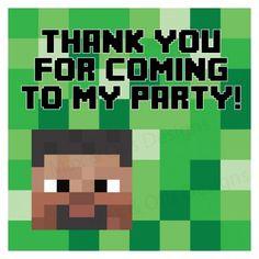 Printable Minecraft birthday thank you tags