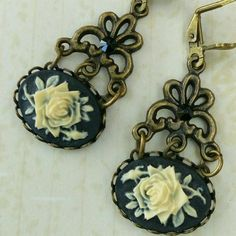 New in our etsy shop: Romantic antique style earrings with rose cameos