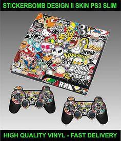 PLAYSTATION 3 SLIM CONSOLE STICKERBOMB VERSION II SKIN GRAPHICS & 2 PAD SKINS - http://videogamedevils.com/2014/03/03/playstation-3-slim-console-stickerbomb-version-ii-skin-graphics-2-pad-skins/