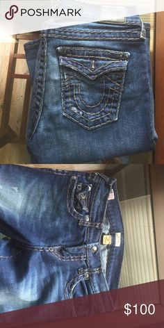 True religion jeans! Size 26 Becca mid rise boot cut size 26!! Worn twice! Dark grey threading! True Religion Jeans Boot Cut