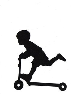 BOY riding scooter Child Silhouette die cut for scrap booking or card making silhouette cameo projects Silhouette Images, Silhouette Portrait, Silhouette Vinyl, Silhouette Cameo Projects, Vinyl Projects, Digital Stamps, Silhouettes, Card Making, Stamp Making