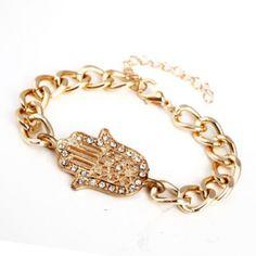USD1.00Fashion Rhinestones Gold Metal Bracelet