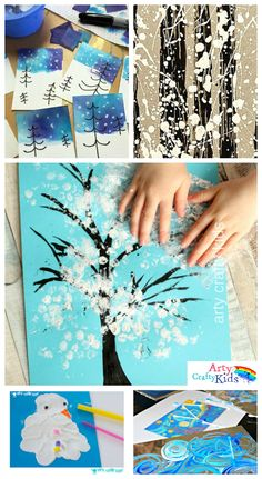 16 Winter Art Projects for Kids - A selection of gorgous snowy Winter art projects for kids using various process art tehniques to keep the kids busy this Winter. Craft 14 Wonderful Winter Art Projects for Kids Christmas Art Projects, Winter Art Projects, Toddler Art Projects, Winter Crafts For Kids, Projects For Kids, Christmas Art For Kids, Winter Kids, Christmas Activities, Preschool Crafts