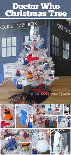 Doctor Who Christmas tree. Loads of DIY ornaments! What a fun geeky holiday idea.