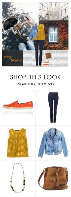 """...and orange espadrilles"" by emc1397 ❤ liked on Polyvore featuring Oris, River Island, Levi's, Zara, MiH Jeans, casual, jeans and espadrilles"