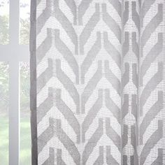 Sheer Chevron Curtain - White | West Elm