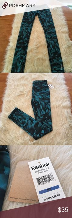 Adorable patterned reebok leggings Brand new with tags! Perfect bright color for the spring!! Cute design. In perfect condition! Reebok Pants Leggings