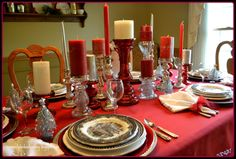 christmas tablescapes | Christmas Tablescape Red and Silver