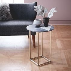"""LIVING ROOM @ R&B CHAIR:  Marquetry Marble Side Table, 15.5""""diam. x 22""""h. Solid marble top. #westelm $199"""