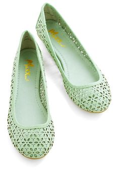 Winsome Watercolors Flat - Flat, Faux Leather, Green, Solid, Cutout, Casual, Spring, Summer, Good