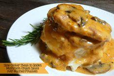 awesome Slow Cooker Steak in Golden Mushroom Cream Sauce