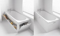 Built in tub storage - what a neat idea!