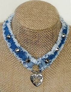 Denim Necklace Choker Handmade from Recycled Blue Jean Denim with Decorative Embellishments, Metal Studs, Ring with Heart and Fringed Edges