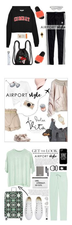 """Winners for Jet Set: Airport Style"" by polyvore ❤ liked on Polyvore featuring MSGM, Madewell, Givenchy, Monki, Branché, Casio, S'well, Chicwish, Moschino and Gucci"