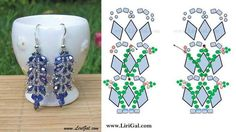 """FREE PATTERN for Crystal Earrings """"Niagara"""" by Lirigal featured in Bead-Patterns.com Newsletter! Check it out for learning, EyeCandy, supplies and more!"""