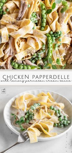 Looking for summer dinner recipes? Try this braised chicken pappardelle in a lemon parmesan cream sauce dish! It's a super flavorful chicken pappardelle coated in a creamy parmesan sauce and tossed with fresh peas. #pasta #summerrecipes #dinner Gourmet Chicken, Chicken Flavors, Supper Recipes, Best Dinner Recipes, Best Seafood Recipes, Pasta Recipes, Pasta Dishes, Food Dishes, Lemon Chicken Pasta