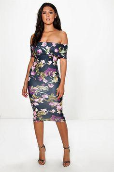Dea Oversized Off The Shoulder Midi Dress | Boohoo