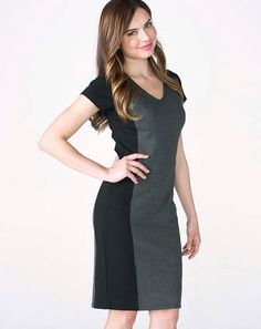 Rita Panel Dress - Ruby Ribbon  Strategic color blocking that slims and accentuates your waist. Full shaping slip built-in.