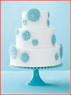 Pretty Turquoise And White Wedding Cake