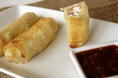 Egg rolls with jalapeno popper filling—with a spicy apricot dipping sauce! Shrimp Egg Rolls, Seafood Recipes, Appetizer Recipes, Appetizers, Bangers And Mash, Egg Roll Wrappers, Easy To Make Dinners, Tasty Kitchen