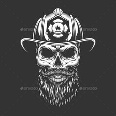 Buy Vintage Monochrome Firefighter Skull by imogi on GraphicRiver. Vintage monochrome firefighter skull in helmet with beard and mustache isolated vector illustration Brother Tattoos, Tattoos For Guys, Men Tattoos, Firefighter Stickers, Firefighter Tattoos, Helmet Tattoo, Skull Helmet, Helmet Logo, Fire Tattoo