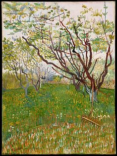 Vincent van Gogh, (Dutch, 1853–1890). The Flowering Orchard, 1888. The Metropolitan Museum of Art, New York. The Mr. and Mrs. Henry Ittleson Jr. Purchase Fund, 1956 (56.13) | This is one of a series of fourteen blossoming orchard paintings. That it includes a scythe and rake makes it one of only two orchards that allude to human presence or labor. The motif and Van Gogh's stylized treatment are related to Japanese prints #spring