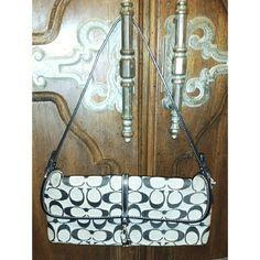 "Authentic Vintage Signature Coach Silver Hardware Authenti Vintage Signature Coach Purse w/Silver Hardware. Inside: black - 1 zip pocket - clamp closure flap - Measurements:  10 1/2"" x 6"" x 1"" Shoulder Drop 7 1/2"". Great for business or a night out. Coach Bags Shoulder Bags"