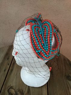Vintage 1970s Hat Bes Ben Beaded Teal Coral Beads by bycinbyhand