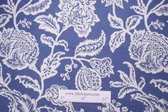 Robert Allen Jacobean Toss Cotton Upholstery Fabric in Indigo $20.95 per yard