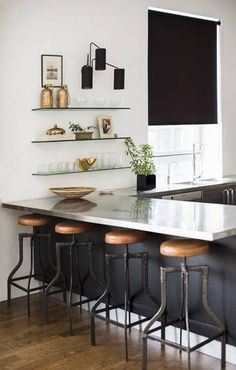 Industrial Stools In A Mixed Modern Vintage Kitchen